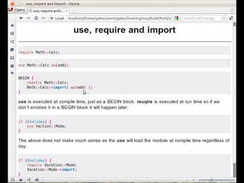 What is the difference between require and use in Perl? What does import do?