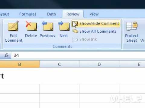 How to show or hide comments applied to the selected cell Excel