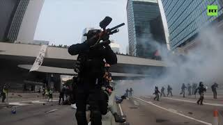 Clashes with riot police turn violent in Hong Kong