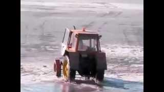 tractor falls through ice