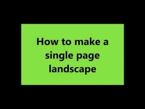 How to Make Only One Page Landscape in Microsoft Word and Keep Rest Portrait