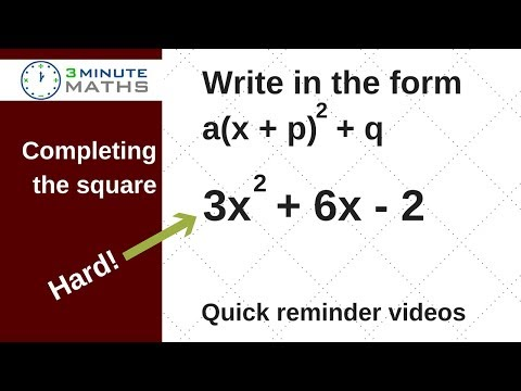 Completing the square show in surd form - higher level