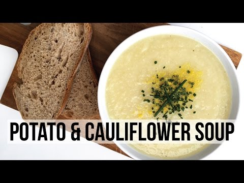 FAT FREE CREAMY POTATO & CAULIFLOWER SOUP RECIPE | VEGAN