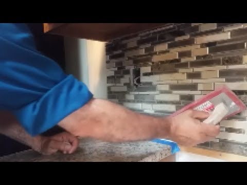 How To Grout A Kitchen Mosaic Backsplash -  Part 1 -  Step By Step - D.I.Y