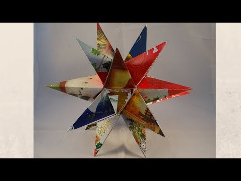 Recycled Christmas Card 3-D Star Decoration- with yoyomax12