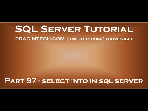 Select into in sql server