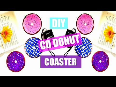 Super Easy & Affordable DIY CD Donut Coaster Room Decor - Recycle an old CD