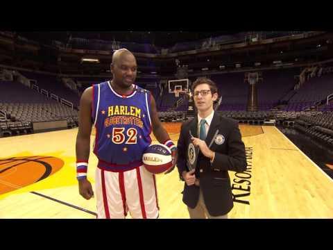 World Record Farthest Blindfolded Basketball Hook Shot! | Harlem Globetrotters