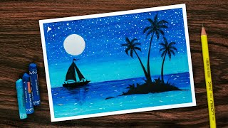 Download How to Draw Scenery of Moonlight with Oil Pastel step by step Video