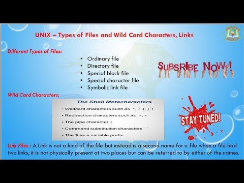 Lesson - 09 : UNIX - Types of Files And Wildcard Characters in Uinx