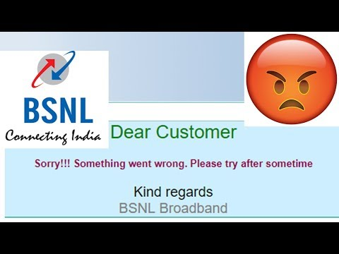 BSNL FUP Error Message - Sorry Something went wrong  Please try after sometime