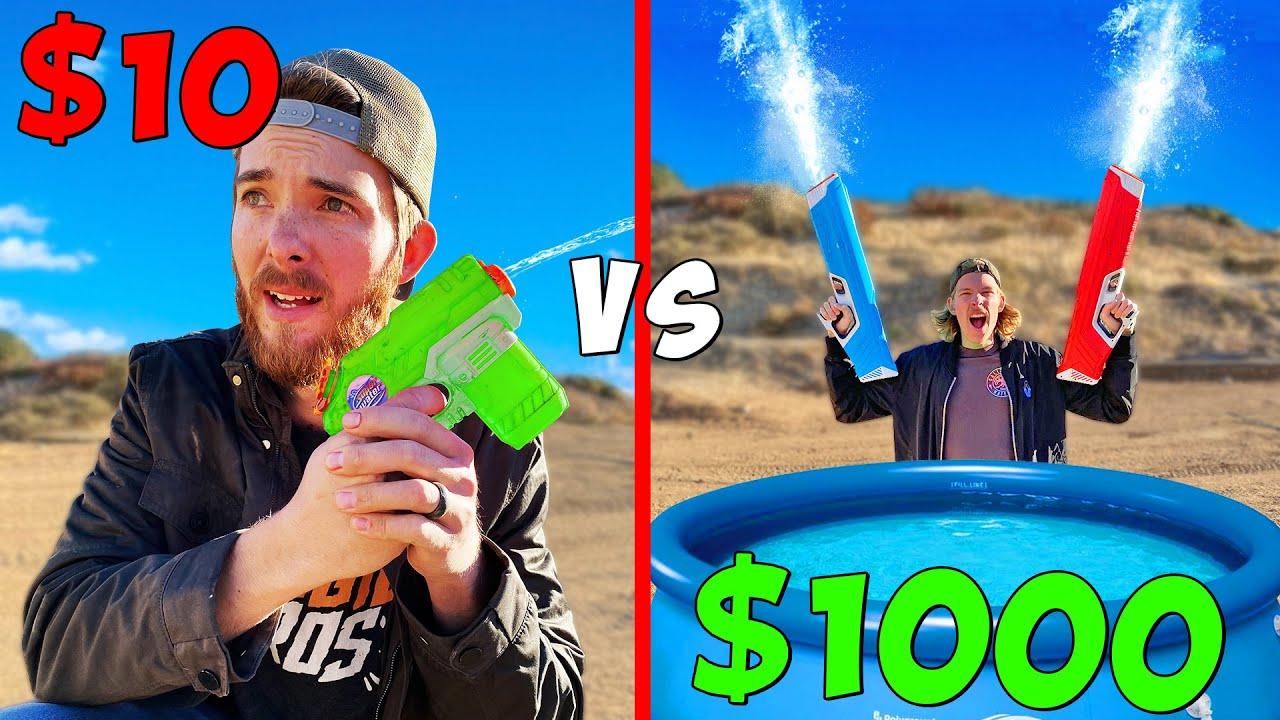 *WORLDS STRONGEST SQUIRT GUN* $10 vs $1000 Super Soakers Battle Royale Budget Challenge!