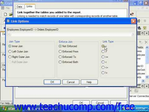 Crystal Reports Tutorial Enforcing Table Joins Business Objects Training Lesson 4.4