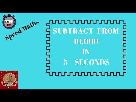 Class 2 Fast Maths for kids - Subtraction from 10,000 without borrowing   VedicMaths tricks for kids