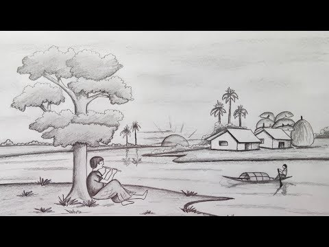 How to draw Scenery / Landscape by pencil sketch.Step by step (easy draw)