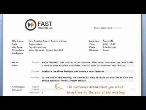 FAST Meetings - World's Best Agenda Template - Instructional Video