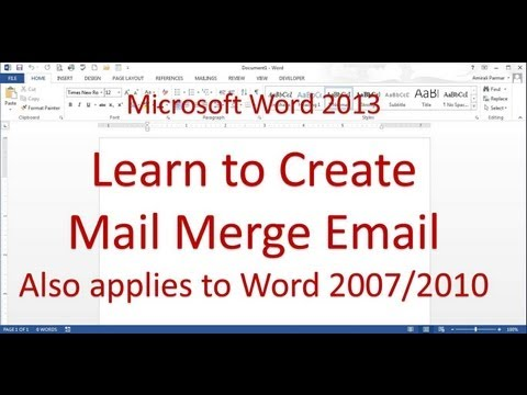 Microsoft Word Mail Merge Email Messages (Word 2013/2016)
