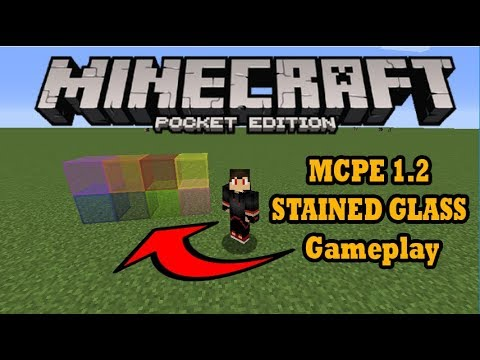MCPE 1.2 STAINED GLASS Gameplay (Minecraft PE)