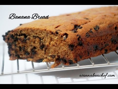 Eggless Banana Bread Recipe in Convention Microwave-Chocolate Chip Banana Bread