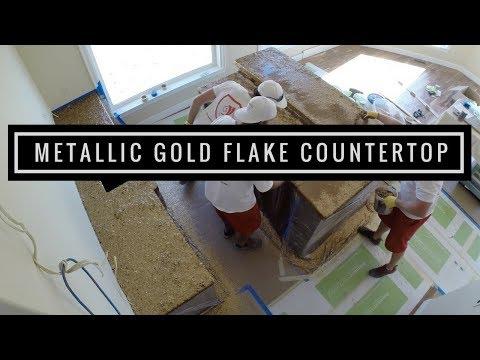 Countertop Coating   Metallic Gold Flakes using Leggari Products
