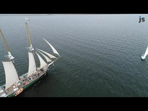 Drone video of the Denis Sullivan tall ship