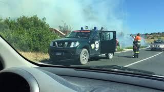 Il fuoco minaccia le case all´uscita di Alghero