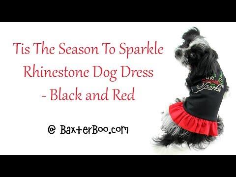 Tis The Season To Sparkle Rhinestone Dog Dress - Black and Red