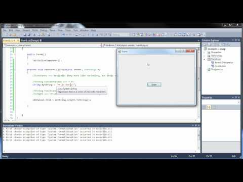 C#.Net Tutorial 5 - Constants, Strings, and String Functions