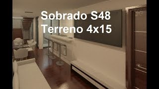 Sobrado S48 - 4x15 - 2 quartos (1 suíte master), 1 vaga, cozinha americana, sala, banheiro e á.s.