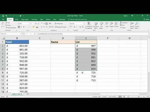 Find the Top 10 Values with One Excel Formula