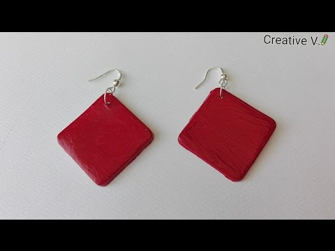 How to make Air dry Clay Earring/ Tutorial