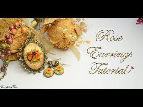 Polymer Clay Rose Earrings Tutorial