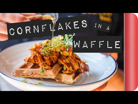 BBQ Corn Flakes Waffle with Maple Syrup #ad