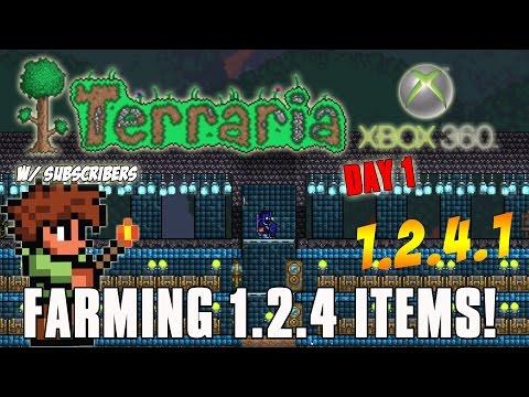 Terraria NEW 1.2.4.1 Celebration - Day 1 - Farming King Slime Xbox 360