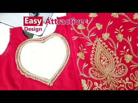 Attractive and Trending Heart Shaped Saree Blouse Back Neck Design for Embroidery Designer Saree