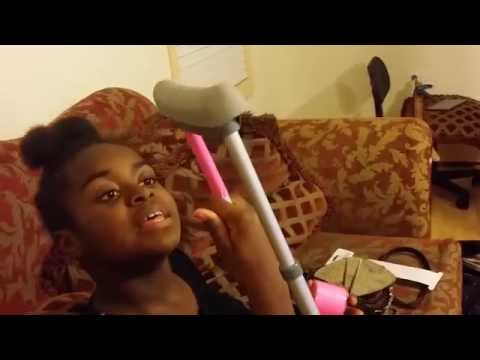 12 year old Eliza Croom shows how she put bling on her crutches