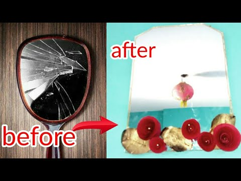 Mirror decor idea | how to decorate a broken mirror | BEST OUT OF WASTE - dollar tree diy