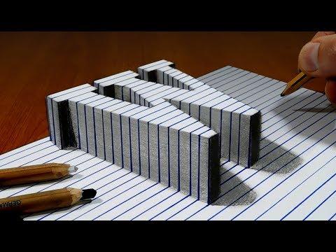Draw a Letter W on Line Paper   3D Trick Art