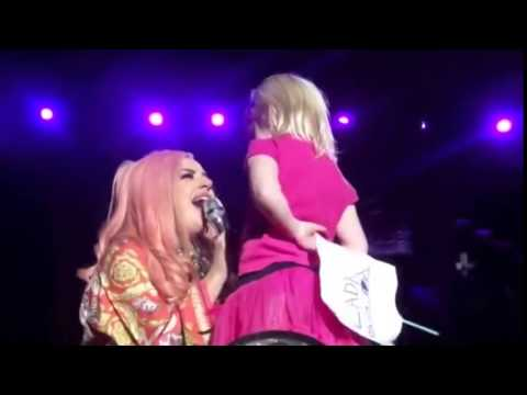 Lady Gaga With A Lucky Little Girl On Stage
