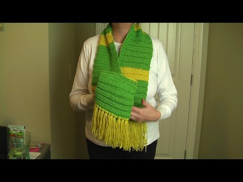 Crochet easy scarf, ribbed