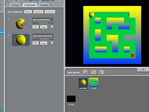 Pac-Man: Simple game techniques in Scratch