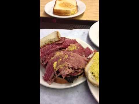 A Katz's Deli Pastrami & Corned Beef Sandwich  in New York City- July 2,2012