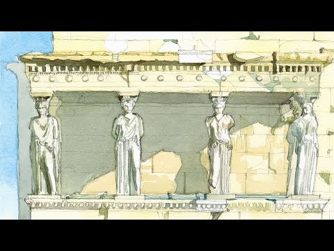 Monuments in Watercolor Ep # 04 Porch of the Maidens (at Erechtheion, Athens, Greece)