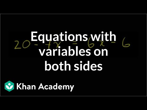 Example 2: Variables on both sides | Linear equations | Algebra I | Khan Academy
