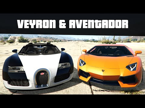 BUGATTI VEYRON & LAMBORGHINI AVENTADOR (Realistic Top Speeds) | GTA 5 Real Car Mods