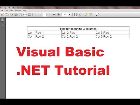 Visual Basic .NET Tutorial 50 -  Add table into existing PDF using iTextSharp