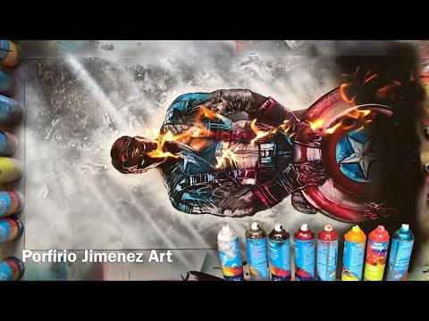 Captain America Avengers Spray Paint Art