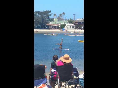 Girls hula hoop on SUP