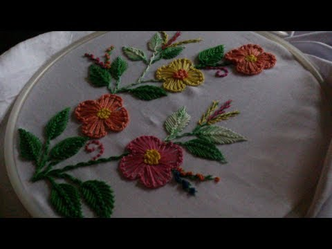 Hand embroidery. German knotted blanket stitched flower embroidery design.