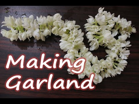 How to make a Garland of Jasmine Flowers (Easy DIY technique without Needle)